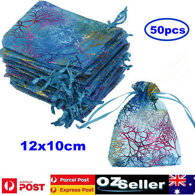 50pcs Organza Bag Sheer Bags Wedding Candy Jewellery Packaging Gift Bgs 9*12cm