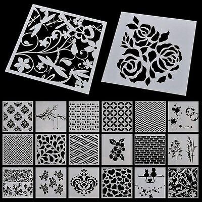 New Wall Painting Grain Stencil Vintage Pattern Reusable Paint Stencil DIY Decor