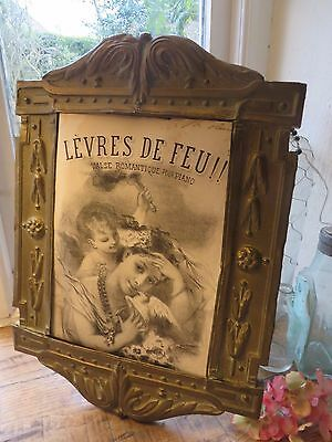 FABULOUS TIME WORN ANTIQUE FRENCH EN REPOUSSE BRASS PHOTOGRAPH FRAME ~ C.1800's