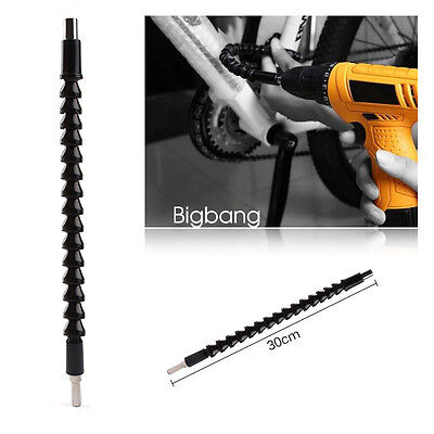 BLACK 295mm FLEXIBLE SCREWDRIVER EXTENSION BAR DRILL DRIVER SHAFT Hex 6.35mm