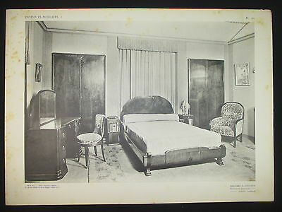 1925 ART DECO CAMERA DA LETTO CHAMBRE A COUCHER ARREDAMENTO DESIGN STAMPA  D295