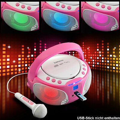 USB CD MP3 Player Karaoke Anlage Mädchen Mikrofon sing along Party Musik pink