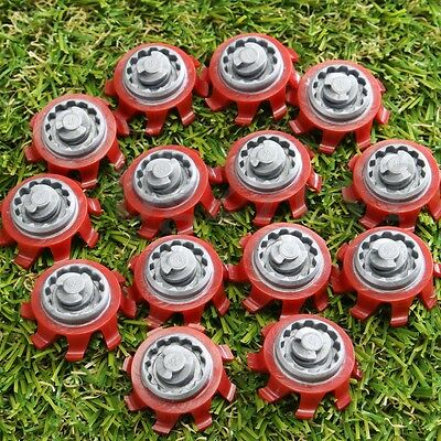 14Pcs Red & Gray Golf Shoes Spikes Fast Twist Replacement For Tri-lok Footjoy