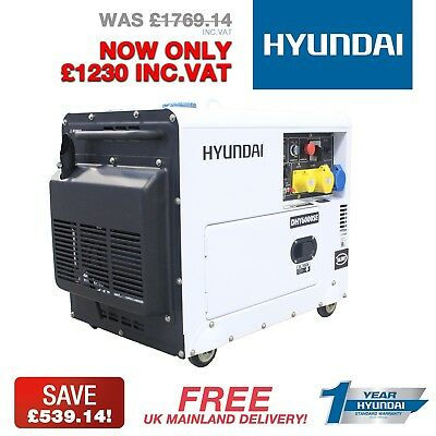 """Silent"" Diesel Generator Hyundai DHY6000SE 6.5kVa 5.2kW Agriculture, Farming"