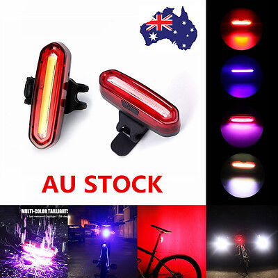 AU USB Rechargeable Bicycle Bike Front Rear Light Lamp Flash Safety Tail Light