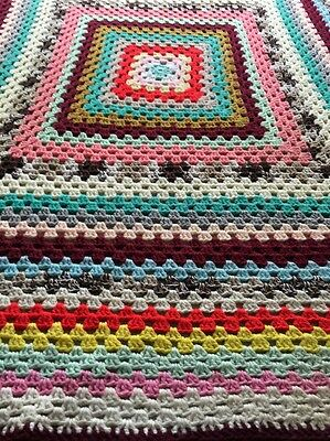 Retro Granny Hand Knitted Patchwork Blanket Throw Crochet Multi Colour