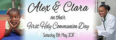 Personalised 2 Photo Joint Party Banner 1st First Holy Communion or Christening