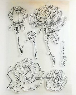 NEW• GORGEOUS • HAPPiNESS ROSES SET •• 6  CLEAR ACRYLIC STAMPS  •