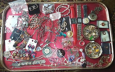 Costume jewellery job lot new & used earrings necklaces watches pendants rings