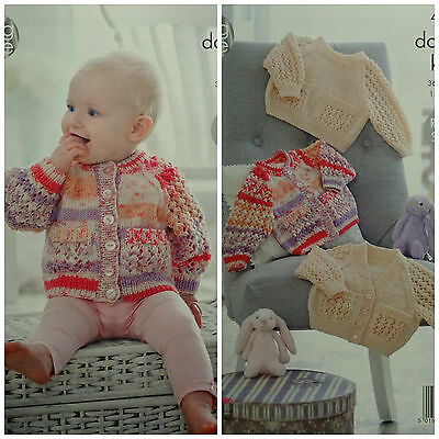 KNITTING PATTERN Baby Lacy Sleeve Cardigans & Jumpers Pockets King Cole DK 4911