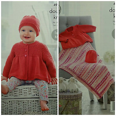 KNITTING PATTERN Baby Easy Knit Smock Coat Hat and Blanket King Cole DK 4912
