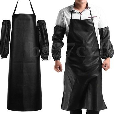 Waterproof Cooking Chef Leather Apron Anti-Oil Restaurant With Cuff Oversleeve