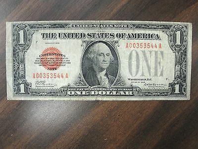 1928 $1 One Dollar United States Red Seal Note