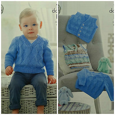KNITTING PATTERN Baby Diamond Pattern Waistcoat Jumper and Top King Cole DK 4909