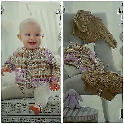 KNITTING PATTERN Baby Easy Knit Moss Stitch Cardigans & Jumper King Cole DK 4910