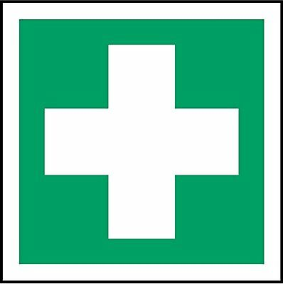 ISO Safety Label Sign - First Aid Symbol - Self adhesive sticker 100mm x 100mm