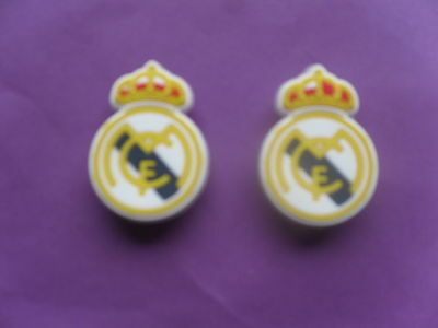 2 Real Madrid Badges Logos jibbitz croc shoe charms wrist loom band cake toppers