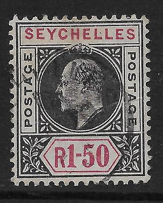 SEYCHELLES  SG 55  1903 WATERMARK CROWN CA 1r.50   FINE USED