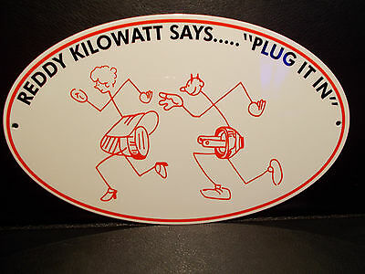 "Reddy Kilowatt ""PLUG IT IN"" ELECTRIC COMPANY LIGHT DIE CUT SIGN ELECTRICIAN GIFT"