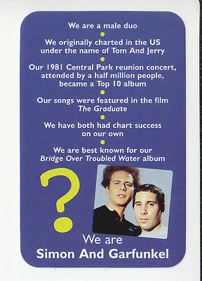 SIMON & GARFUNKEL Paul Art Rock Singers 2006 QUIZ GAME TRIVIA PHOTO CARD #1