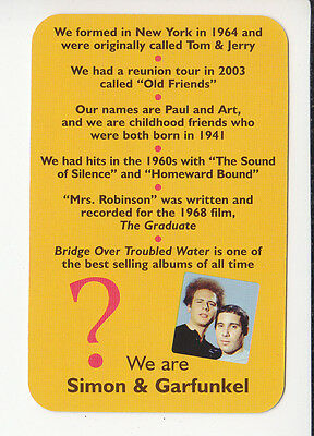 SIMON & GARFUNKEL Paul Art Rock Singers 2006 QUIZ GAME TRIVIA PHOTO CARD #2