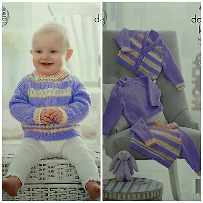 KNITTING PATTERN Baby Easy Knit Striped Jumper & Cardigan King Cole DK 4913