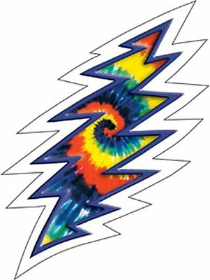 STICKER Decal The GRATEFUL DEAD Lightning Bolt TYE DYE S3023C Clear WINDOW