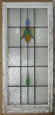 "LARGE OLD ENGLISH LEADED STAINED GLASS WINDOW Preety Floral 20.5"" x 44.5"""