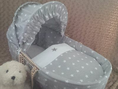 Moses Basket  3 Piece Cover Set Grey/white Stars Design New