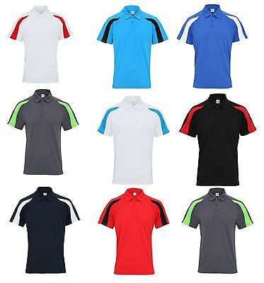 AWDis JC043 Mens Contrast Cool Polo Shirt Breathable Training Running Sports Tee