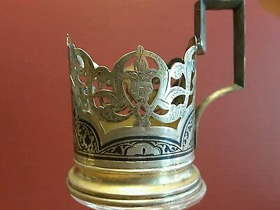 Antique Russian silver  & gold gilded Niello tea glass holder stakan