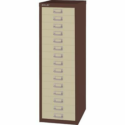 Bisley - 15 Multi Drawer Filing Cabinet - New - Coffee And Cream + Free 24H