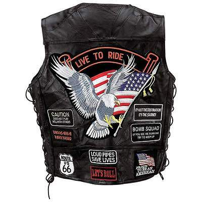 Mens Biker Vest - Diamond Plate Rock Design Buffalo Leather with Patches
