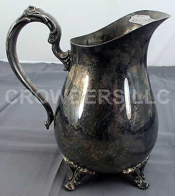 Int'l Silver Co Webster Wilcox Claw Foot Silver Plate Water Pitcher w/ Ice Catch