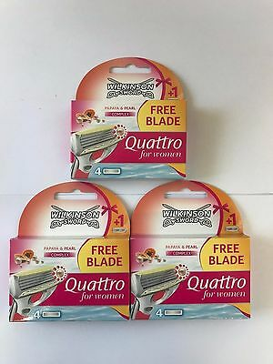 12 x  Wilkinson Sword Quattro For Women Razor Blades - ( 3 x 4 packs = 12 total)