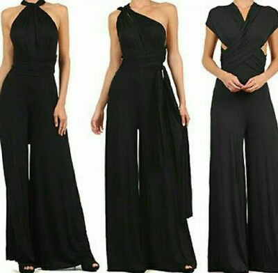 Womens wedding Multi Way Convertible Wrap Jumpsuit Romper Wide Palazzo