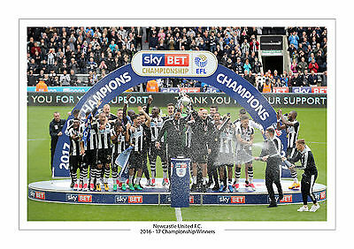 Champions Newcastle United Championship A4 Print Photo Utd 2017 Trophy Team
