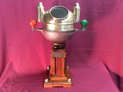 Antique Sestrel Brass Binnacle, Gimbal Marine Compass w/ Wooden Ship Stand