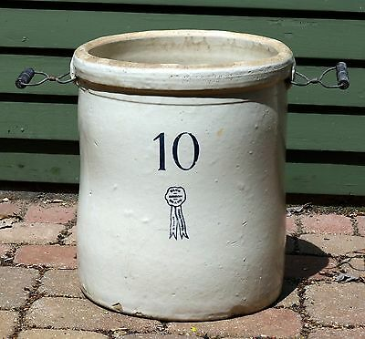 Antique Large Buckeye Pottery Co. Blue Ribbon Brand #10 CROCK with Lid Cover