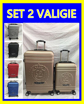 Set 2 Valigie Trolley Rigide In Abs Trolley Grande E Bagaglio A Mano