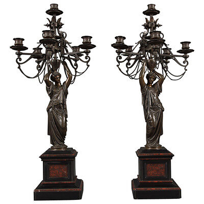 A Pair of Antique Victorian Patinated Bronze Figural Candelabras