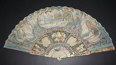 Rare Antique French ? 18Th Chinoiseries Chinese Scenes Sticks Painted Leaf Fan