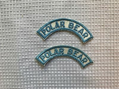 Pair of Vintage Polar Bear Half Strip Shoulder Patch Badge - Sky Blue