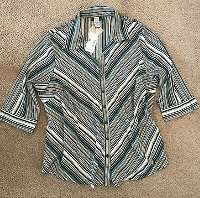 Demi sleeve Button-Front Business Casual Spring Stripe Shirt Studio 1940 22/24 W