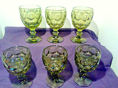 Imperial Glass Set of 6 Green Thumbprint Water Goblets Provincial