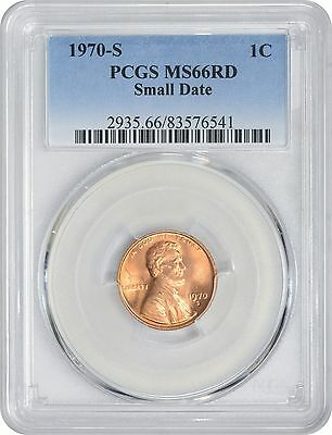 1970 S Lincoln Small Date Cent MS66RD PCGS Mint State 66 Red