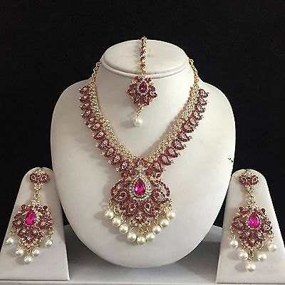 Pink Gold Indian Costume Jewellery Necklace Earrings Pearls Crystal Set New Gift