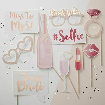 Bride Photo Booth Selfie Props Hen Party Accessories Games Rose Gold Pink