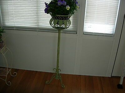 "Estate Antique Vintage Green Wrought Iron Ornate Plant Stand 36""  Pick Up Only"