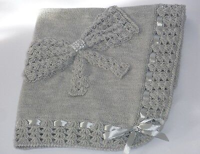LOVELY NEW Grey Hand Knitted Crochet Bring Home  Baby Blanket Cot Pram Handmade